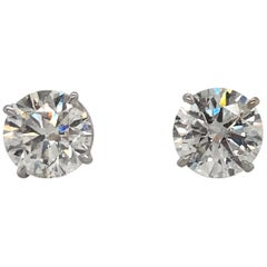 Diamond Stud Earrings 3.17 Carat H I1 18 Karat White Gold