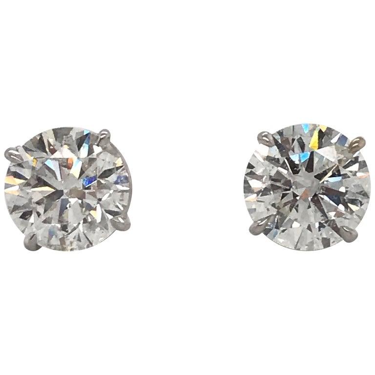 Diamond Stud Earrings 3.17 Carat H I1 18 Karat White Gold For Sale