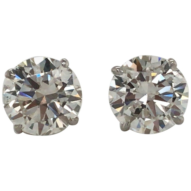 Diamond Stud Earrings 3.41 Carat H-I SI2-I1 18 Karat White Gold For Sale