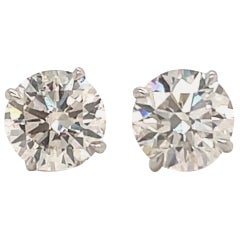 Diamond Stud Earrings 3.49 Carat I-J SI2-SI3 18 Karat White Gold