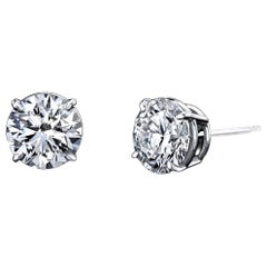 Diamond Stud Earrings 3.53 Carat with GIA Certificates Platinum 4-Prong