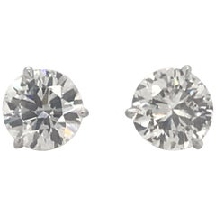 Diamond Stud Earrings 3.78 Carat J SI1-SI2 18 Karat White Gold