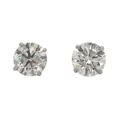 Diamond Stud Earrings 4.02 Carat K SI2-I1 18 Karat White Gold