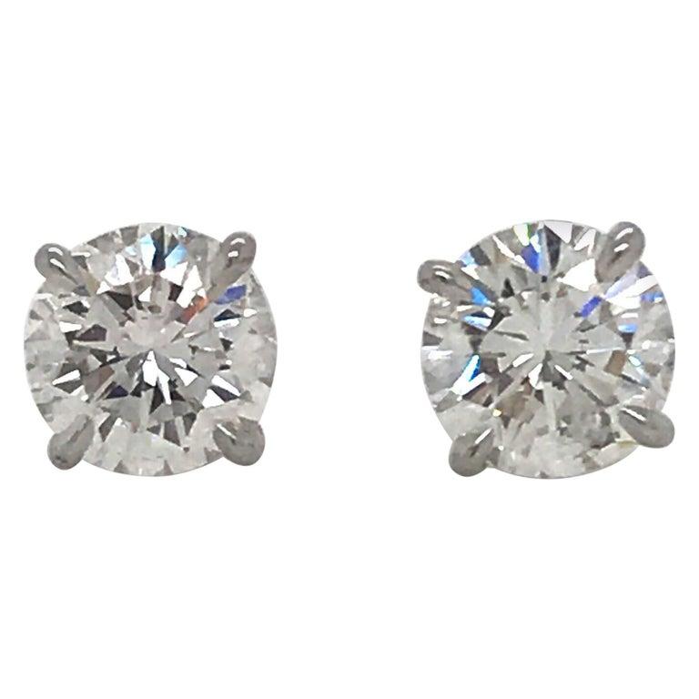 Diamond Stud Earrings 4.03 Carat I SI2 18 Karat White Gold For Sale