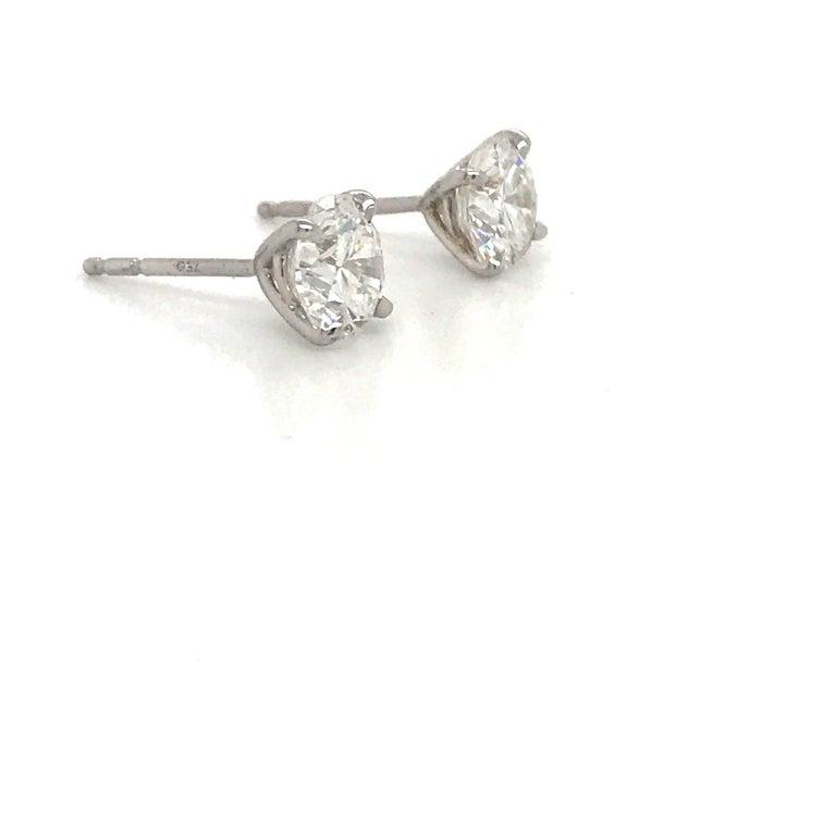 Round Cut Diamond Stud Earrings 4.03 Carat I SI2 18 Karat White Gold For Sale