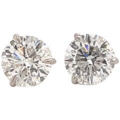 Diamond Stud Earrings 4.06 Carat G-H SI3-I1 18 Karat White Gold
