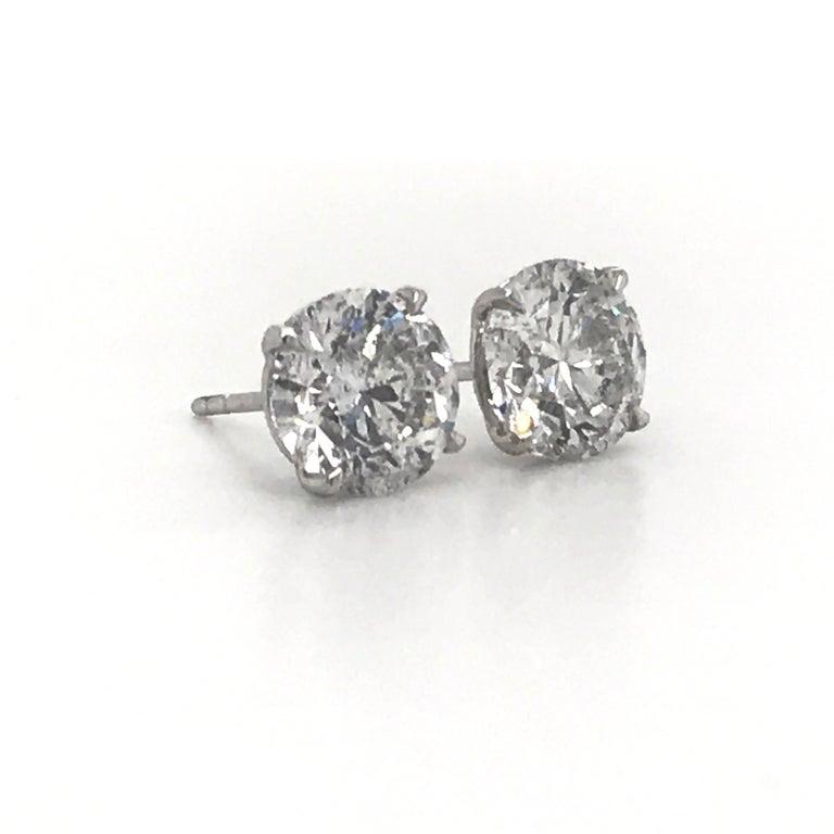 Contemporary Diamond Stud Earrings 4.07 Carat I I1 18 Karat White Gold For Sale