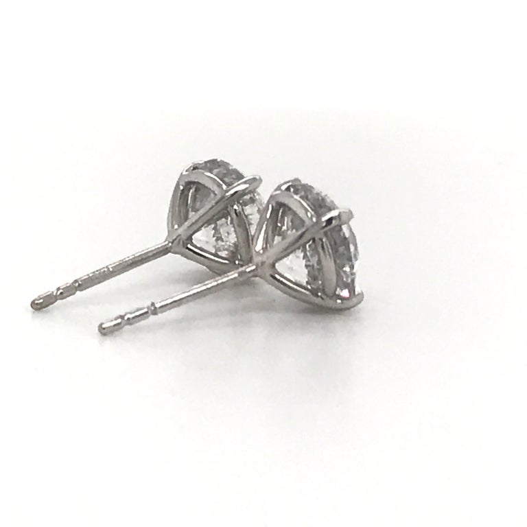 Women's or Men's Diamond Stud Earrings 4.07 Carat I I1 18 Karat White Gold For Sale
