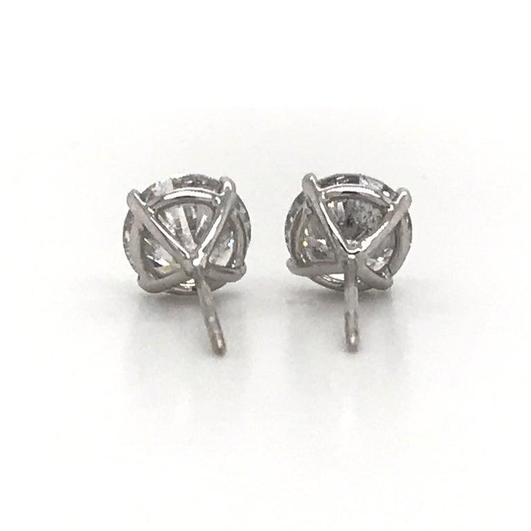 Diamond Stud Earrings 4.07 Carat I I1 18 Karat White Gold For Sale 1