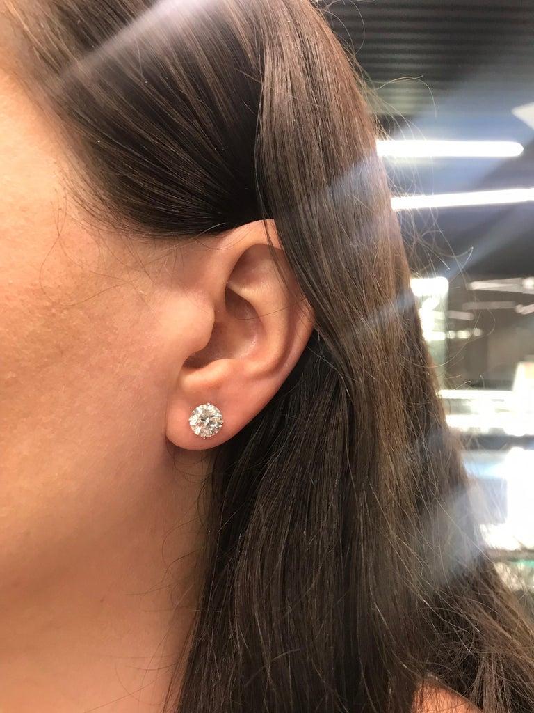 Diamond Stud Earrings 4.07 Carat I I1 18 Karat White Gold For Sale 2