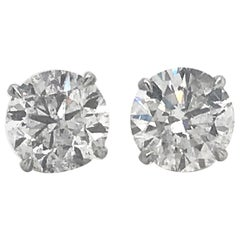 Diamond Stud Earrings 4.07 Carat I I1 18 Karat White Gold
