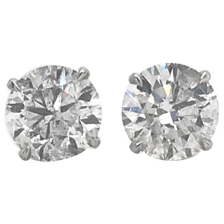 Diamond Stud Earrings 4.07 Carat I I1 18 Karat White Gold For Sale