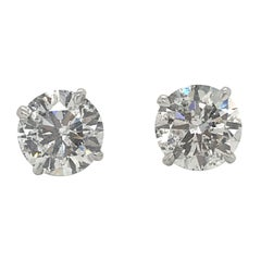 Diamond Stud Earrings 4.09 Carat I-J I1 18 Karat White Gold