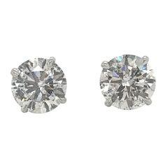 Diamond Stud Earrings 4.09 Carat I-J I1 18 Karat White Gold