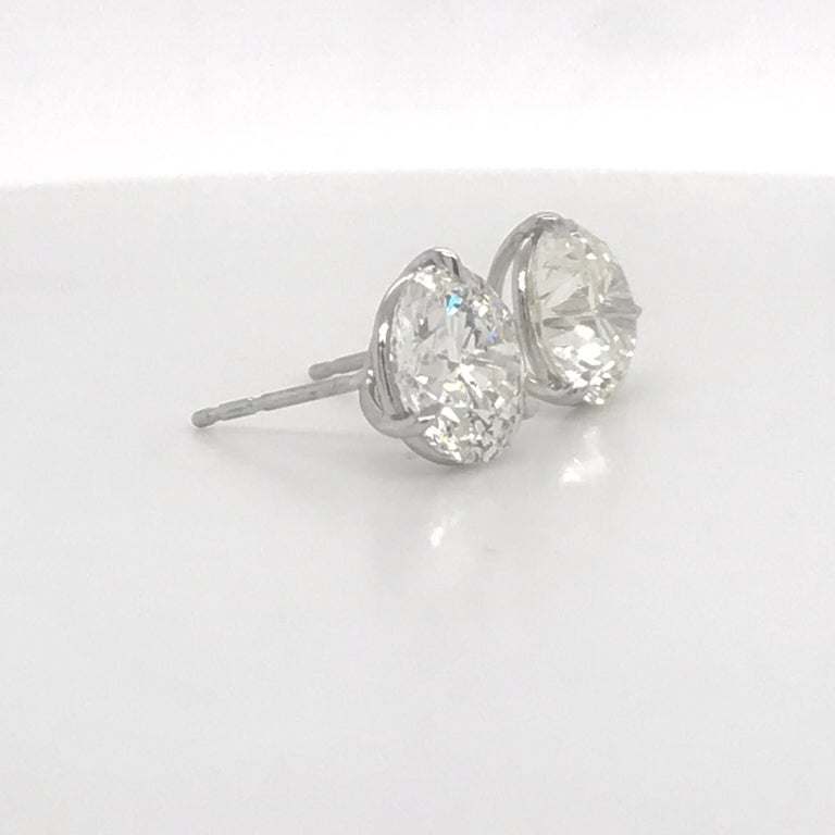 Diamond Stud Earrings 4.81 Carat I-J I1 18 Karat White Gold In New Condition For Sale In New York, NY