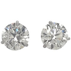 Diamond Stud Earrings 4.81 Carat I-J I1 18 Karat White Gold