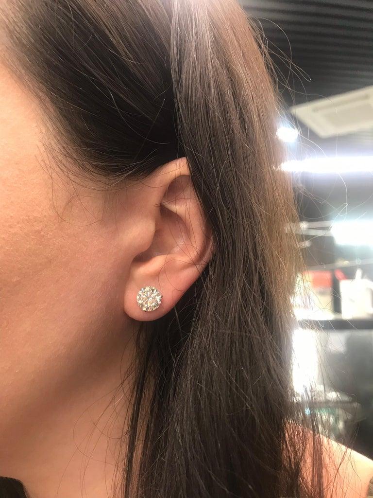 Diamond Stud Earrings 4.87 Carat I-J I1 14 Karat White Gold For Sale 4