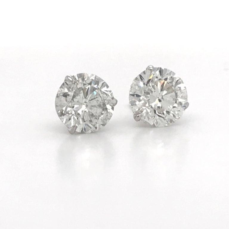 Contemporary Diamond Stud Earrings 4.87 Carat I-J I1 14 Karat White Gold For Sale