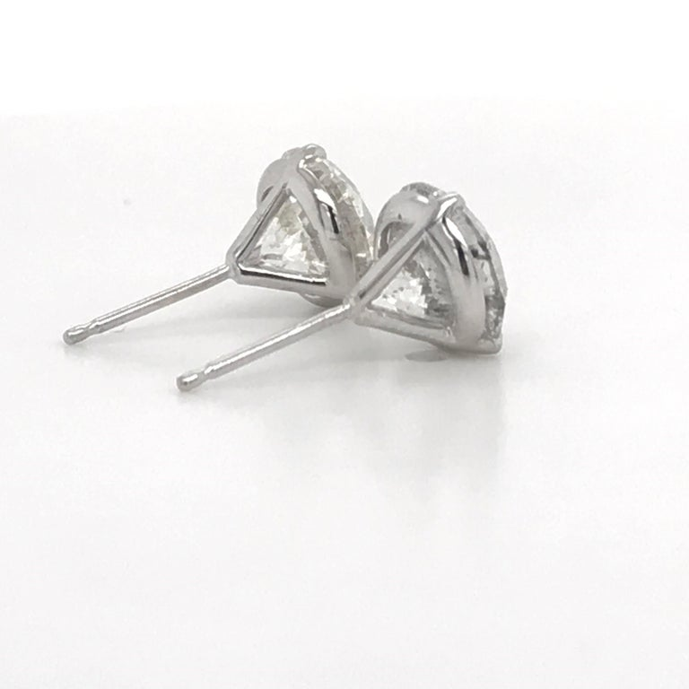 Round Cut Diamond Stud Earrings 4.87 Carat I-J I1 14 Karat White Gold For Sale