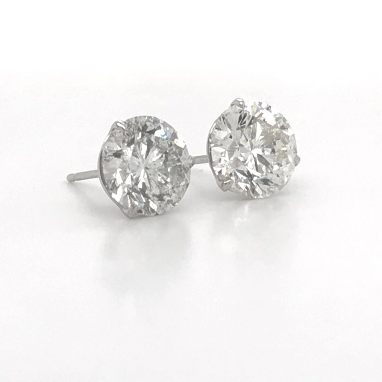 Diamond Stud Earrings 4.87 Carat I-J I1 14 Karat White Gold In New Condition For Sale In New York, NY