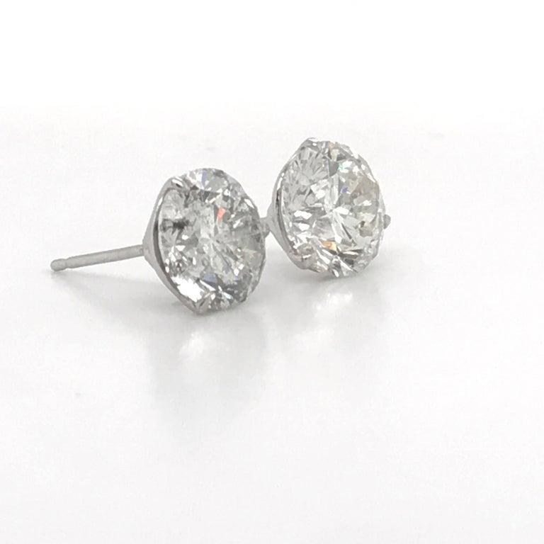 Diamond Stud Earrings 4.87 Carat I-J I1 14 Karat White Gold For Sale 1