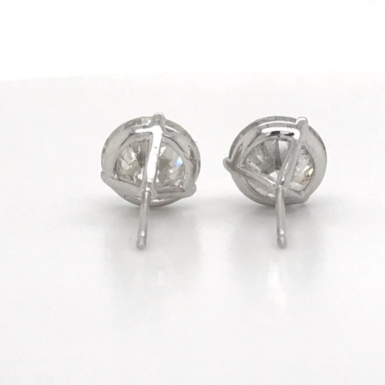 Diamond Stud Earrings 4.87 Carat I-J I1 14 Karat White Gold For Sale 2