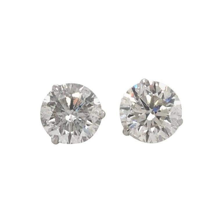 Diamond Stud Earrings 4.87 Carat I-J I1 14 Karat White Gold For Sale