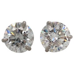 Diamond Stud Earrings 5.04 Carat F I1 18 Karat White Gold