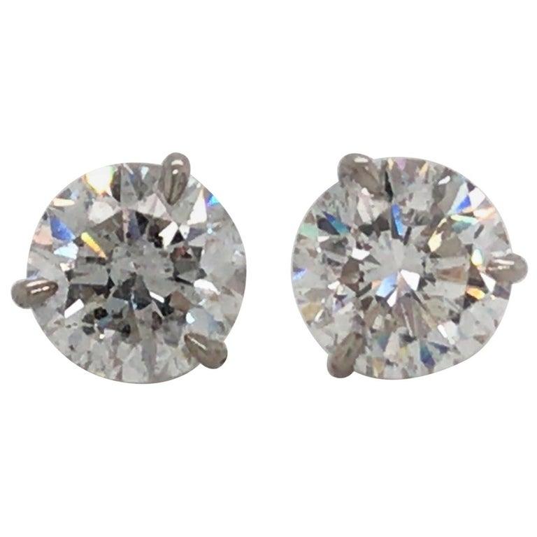 Diamond Stud Earrings 5.04 Carat F I1 18 Karat White Gold For Sale