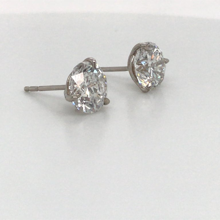 Contemporary Diamond Stud Earrings 5.04 Carat F I1 18 Karat White Gold For Sale