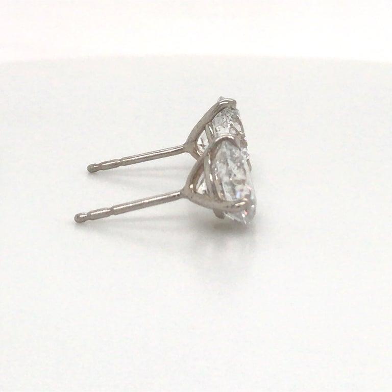 Round Cut Diamond Stud Earrings 5.04 Carat F I1 18 Karat White Gold For Sale