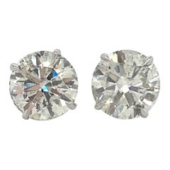 Diamond Stud Earrings 5.31 Carat J-K SI3-I1 18 Karat White Gold