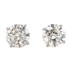 Diamond Stud Earrings 6.01 Carats H I1 18 Karat White Gold