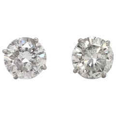 Diamond Stud Earrings 6.09 Carat G-H I1 18 Karat White Gold