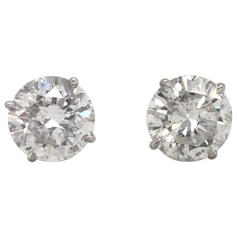 Diamond Stud Earrings 6.09 Carat G-H I1 18 Karat White Gold For Sale