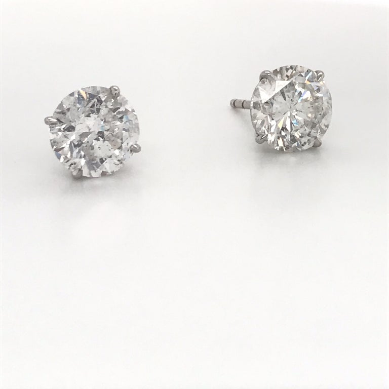 Contemporary Diamond Stud Earrings 6.09 Carat G-H I1 18 Karat White Gold For Sale