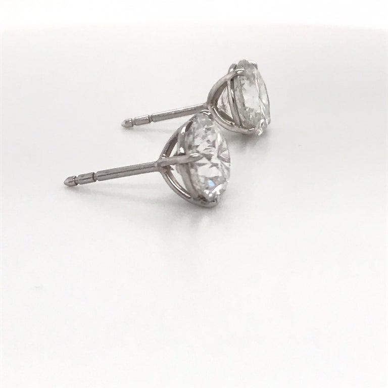 Diamond Stud Earrings 6.09 Carat G-H I1 18 Karat White Gold In New Condition For Sale In New York, NY