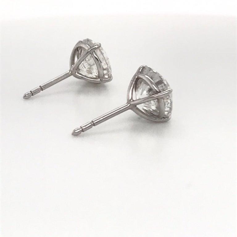Women's or Men's Diamond Stud Earrings 6.09 Carat G-H I1 18 Karat White Gold For Sale