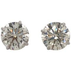 Diamond Stud Earrings 6.23 Carat I-J SI3-I1 18 Karat White Gold