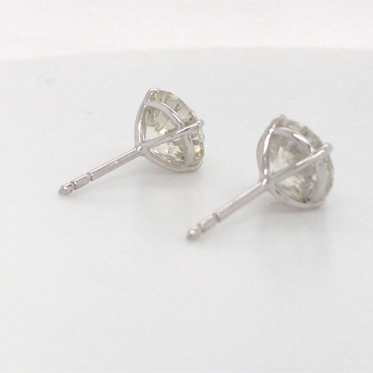 Diamond Stud Earrings 6.23 Carat I-J SI3-I1 18 Karat White Gold In New Condition For Sale In New York, NY