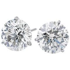 Diamond Stud Earrings, GIA Certified 2.63 Carat H-I SI1-SI2