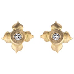 Diamond Stud Earrings in Lotus Flower Motif