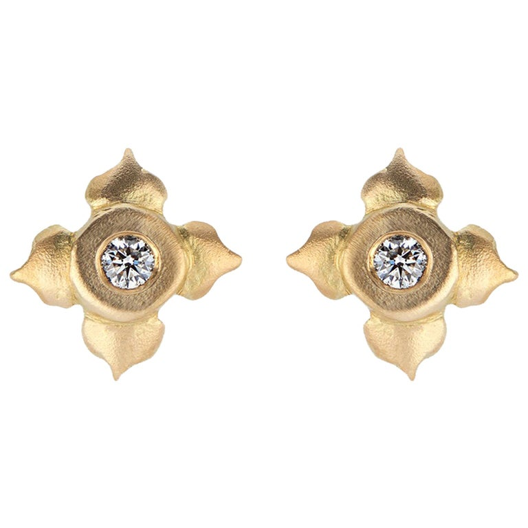 Diamond Stud Earrings in Lotus Flower Motif For Sale