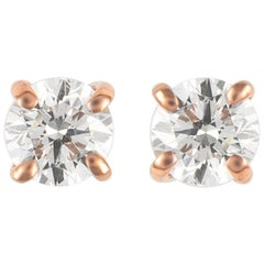 0.48 Carat Diamond Stud Earrings Rose Gold