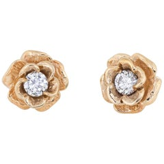 Diamond Stud Earrings Vintage 14 Karat Gold Rose Flower Jewelry Screw Backs