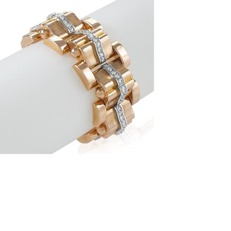 Retro Rose Gold and Diamond Tank Bracelet  For Sale