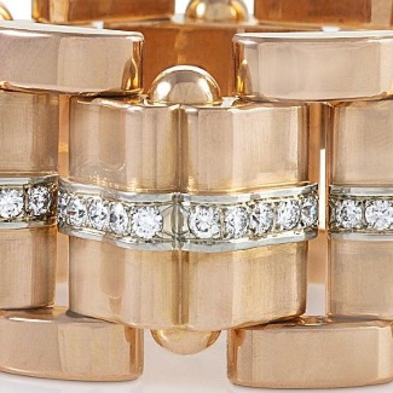 Brilliant Cut Rose Gold and Diamond Tank Bracelet  For Sale