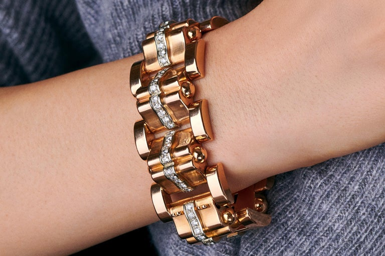Rose Gold and Diamond Tank Bracelet  In Excellent Condition For Sale In New York, NY