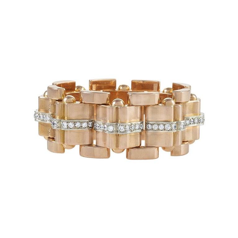 Rose Gold and Diamond Tank Bracelet  For Sale