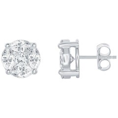 Round Shaped Diamond Studs 2.00 Carat